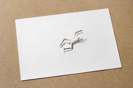 Paper Art Cutout Person Laying down