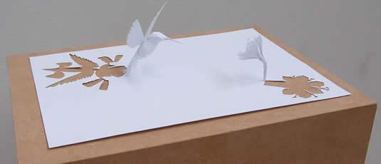 Humming Bird and Flower Paper Cutout Art