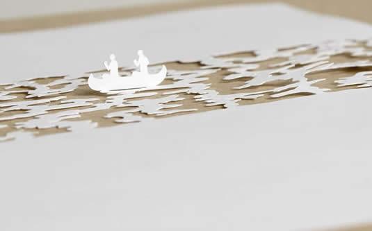Boat Canoe River Paper Art