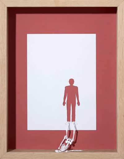 Man Stand Skeleton Shadow Paper Cut out Art